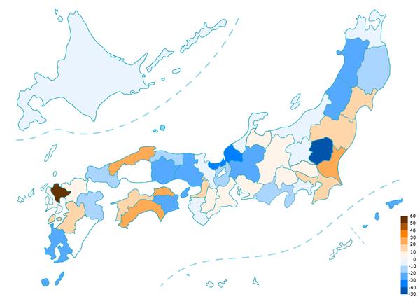 都道府県別悪臭の増減率