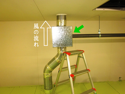 排気と消臭剤の流れ