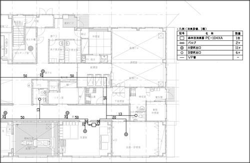 消臭器配管図を書き込んだCAD図面