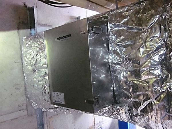 排気ダクトに接続した中和消臭器