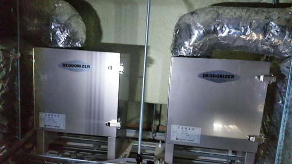 幼稚園に設置した厨房排気用消臭器