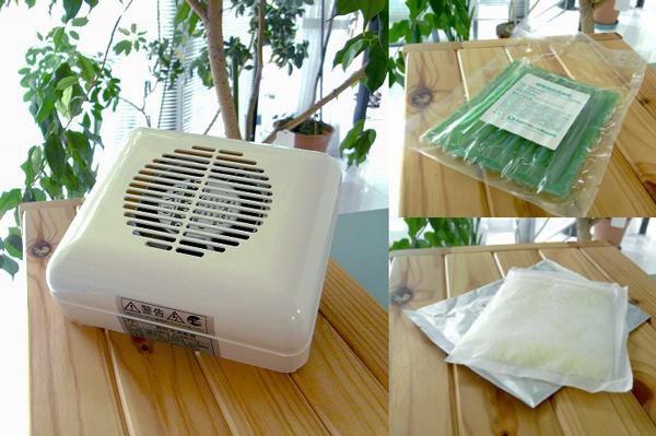 室内用消臭器ミニフォレストと消臭剤